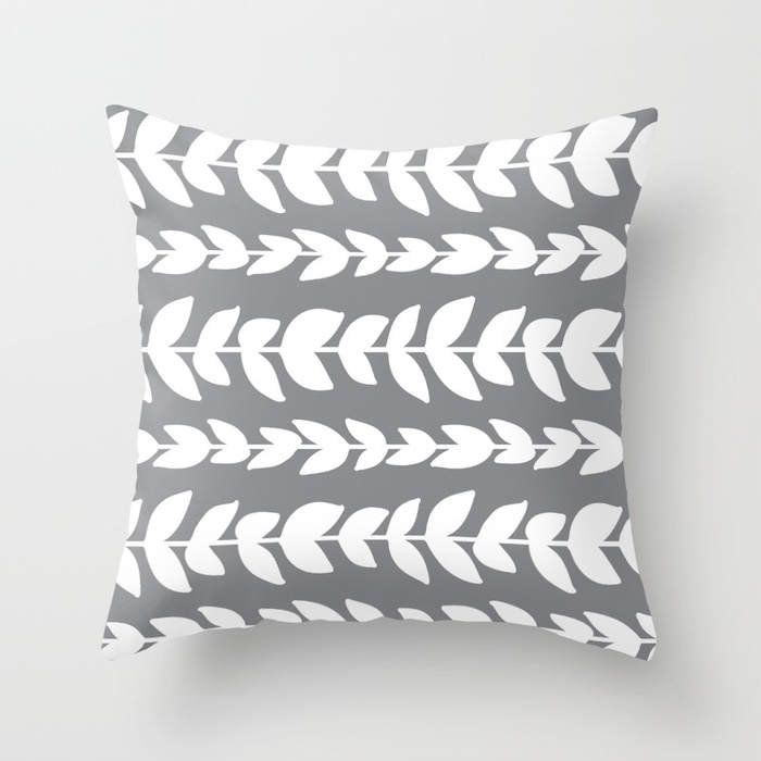 Grey Throw Pillow Modern Vines Leaf Pattern Home Decor By Aldari Aldarihome On Etsy