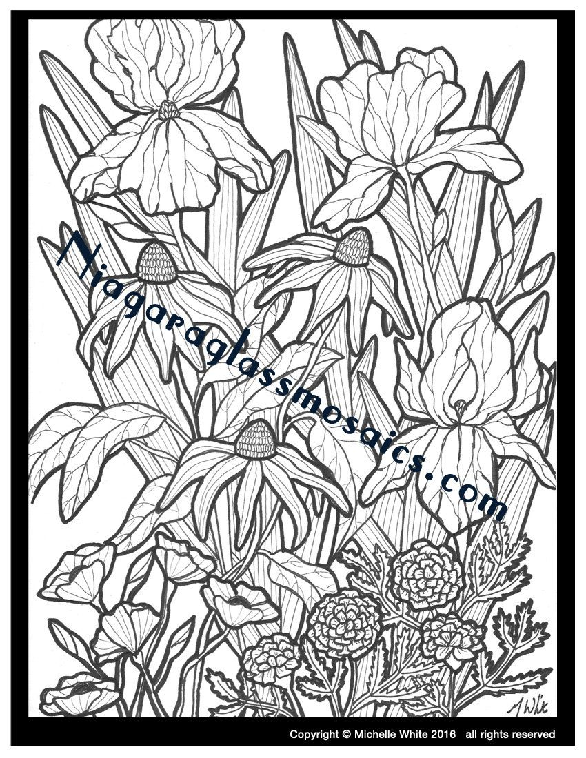 Flower Garden Coloring Page | Adult Coloring Handmade | Flower Color ...