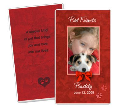 Red Pet Memorial Flat Card Templates Edit in Microsoft Word - memorial card templates microsoft word