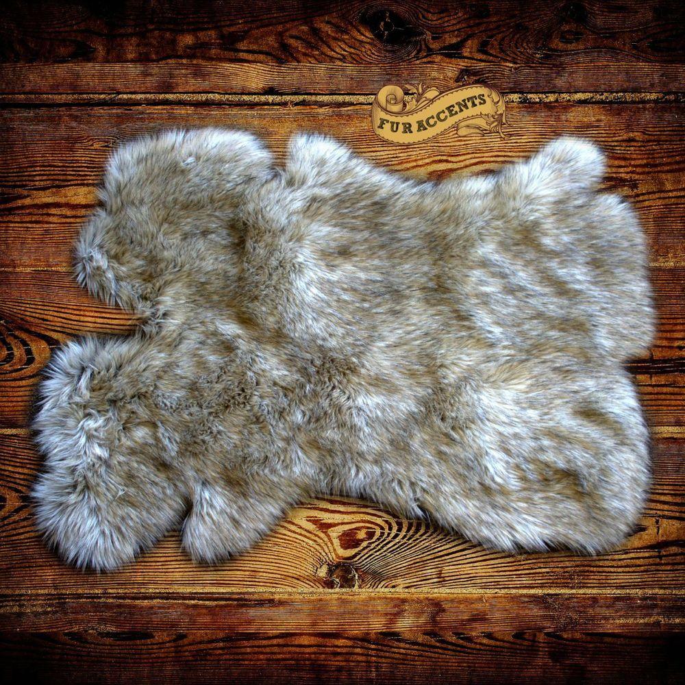 Details about Shag Sheepskin Rug Coyote Wolf Tip Carpet