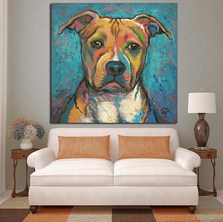 Pitbull Wall Art pitbull abstract wall oil painting print on canvas | painting