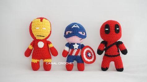 Super Héroes Amigurumi: Capitán América, Iron Man y Deadpool ...