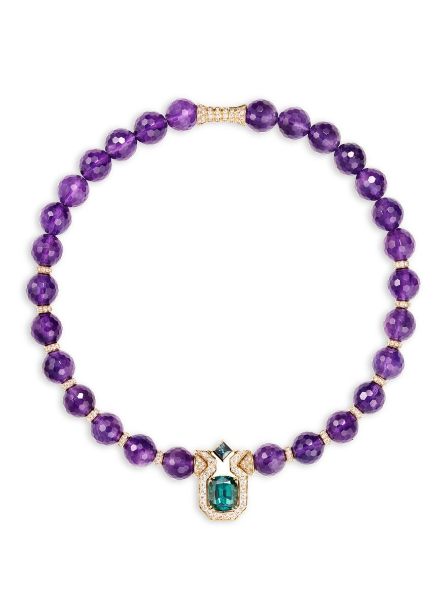 ••• purple amethyst beads, this choker draws focus with its 18k yellow gold pendant, with pavé white diamonds flanking an intense green tourmaline. ☆☆☆                                         As one of the oldest jewellery houses in France, Mellerio was founded as a jewellery  business as far back as 1515. The business remains in the hands of the 14th generation of the family and continues to curate exceptionally exquisite high jewellery collections.