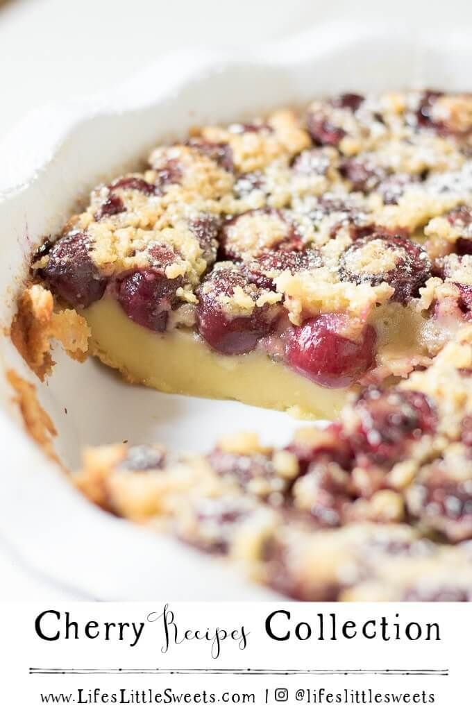 Cherry Recipes Collection Here is a list of cherry recipes, we have sweet desserts from Cherry Cobbler, Cherry Quick Bread, Cherry Cheesecake, Cherry Overnight Oats and Cherry Clafoutis. Enjoy cherry season with these delicious recipe inspirations.
