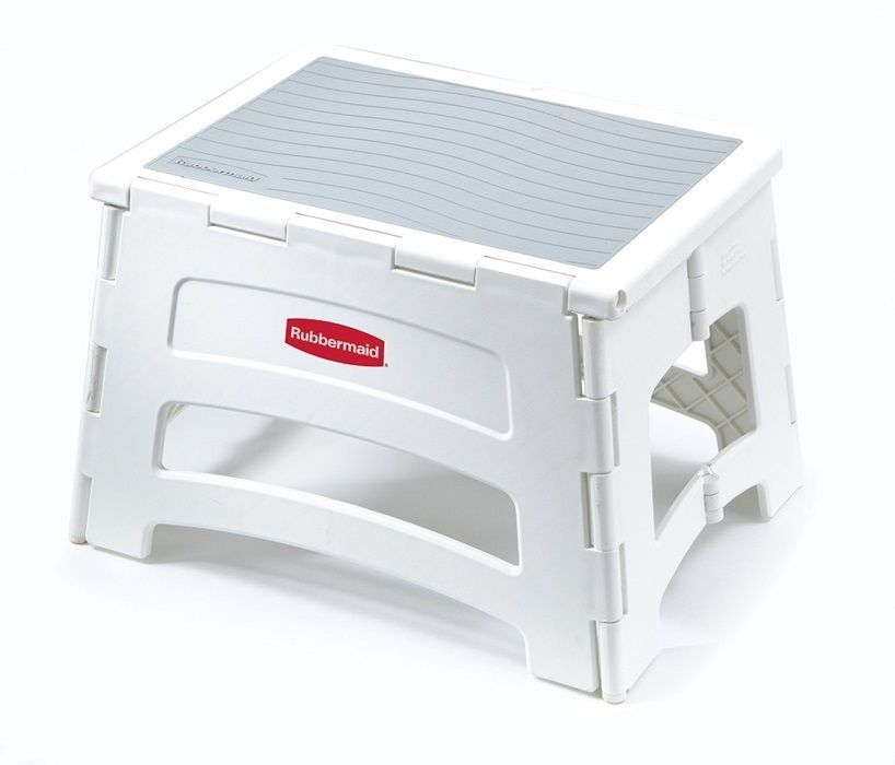 Rubbermaid Folding Plastic Foldable Step Stool Standing Lightweight Home White #Rubbermaid