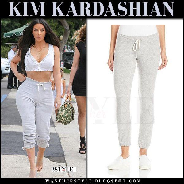 ad1f84ed7da Kim Kardashian in grey sweatpants and transparent mules | Kim ...
