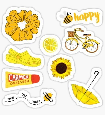 Yellow Pack Stickers Aesthetic Stickers Printable Stickers
