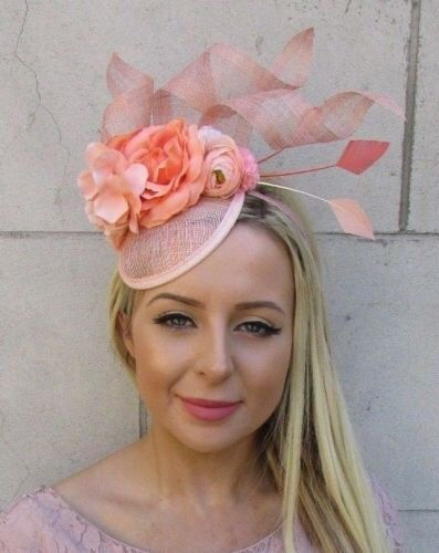 26ef9b61c09ed Blush Nude Pink Peach Rose Flower Feather Hat Fascinator Races Wedding Hair  5901 by Starcrossedbeauty on