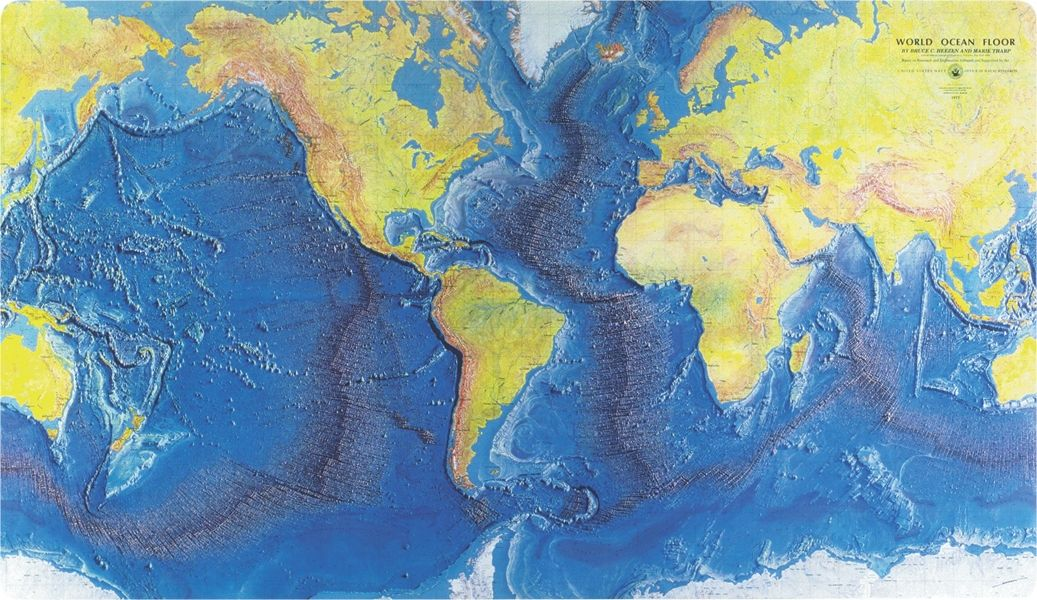 world map showing ice age coastlines and continental shelf