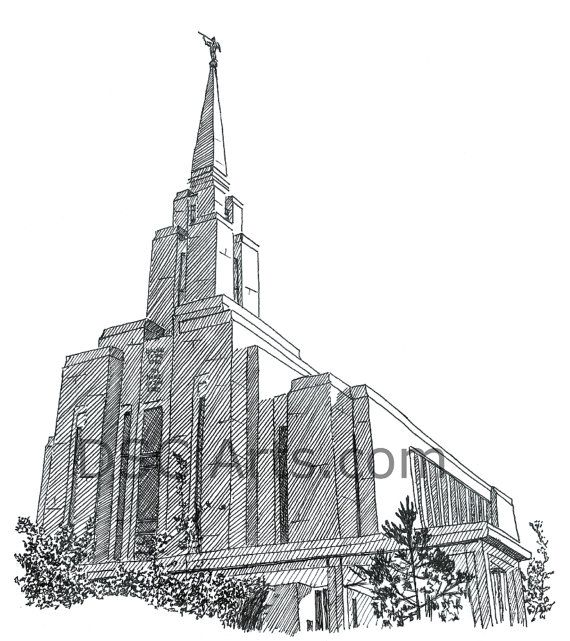 Oquirrh Mountain LDS Temple Ink Drawing 8x10 Inch Print | Art and ...