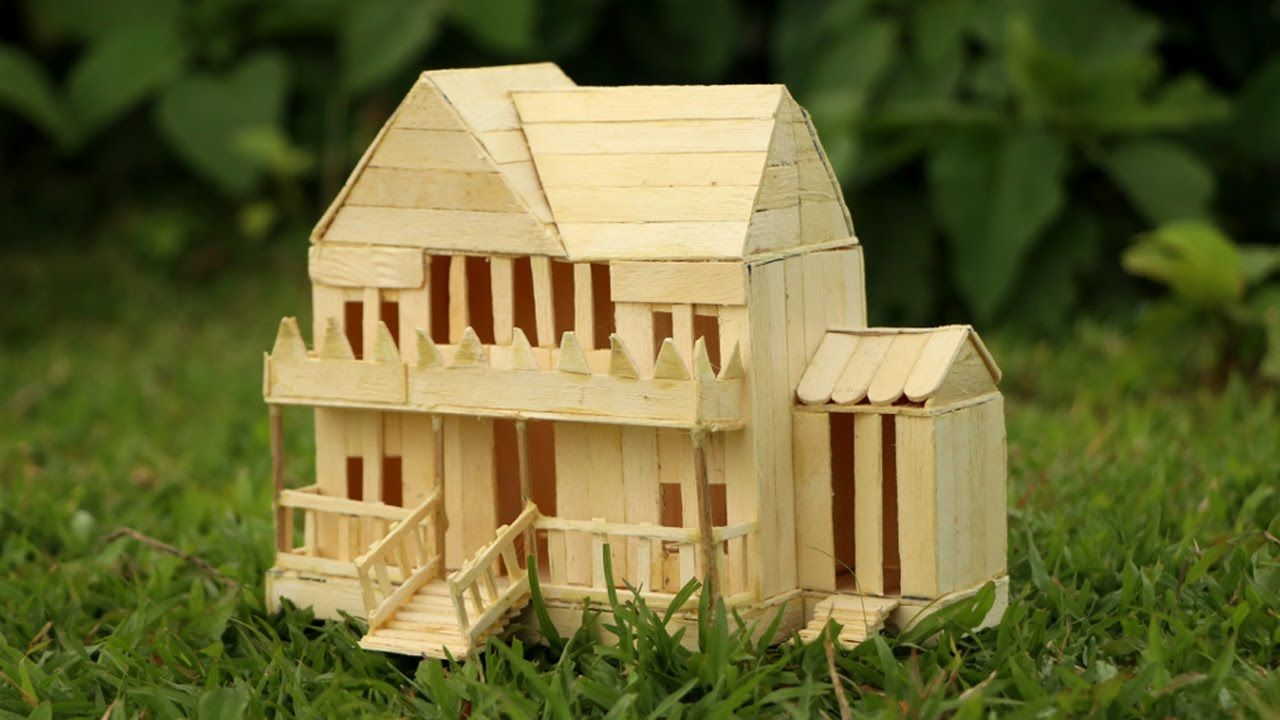 How To Make A Popsicle Stick House Very Easy Icecream Stick