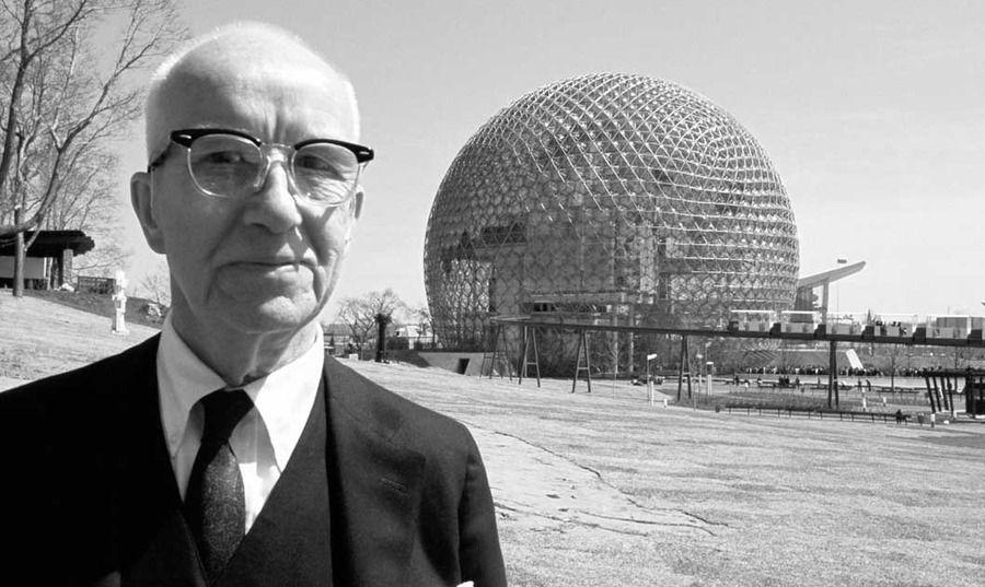 Buckminster Fuller in front of his Geodesic dome #architectspecs