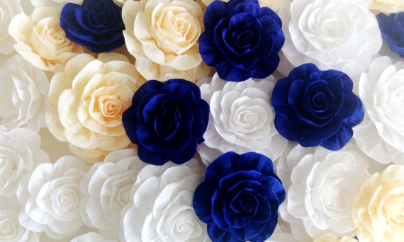 Royal Blue Prince 10 Large Paper Flowers Boy Backdrop Decor Cobalt