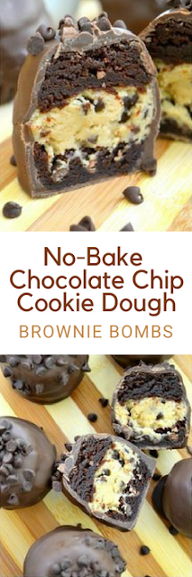 No-Bake Chocolate Chip Cookie Dough Brownie Bombs #chocolatechipcookiedough
