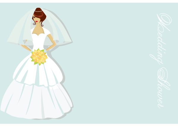 bridal shower card vector illustration free
