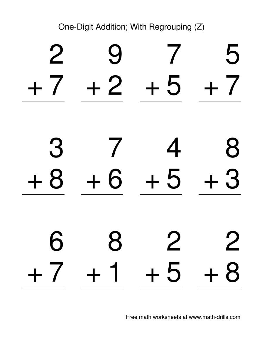 The Single Digit Addition Some Regrouping 12 Per Page Z Math Worksheet From The Basic Math Worksheets Addition Coloring Worksheet Quote Coloring Pages