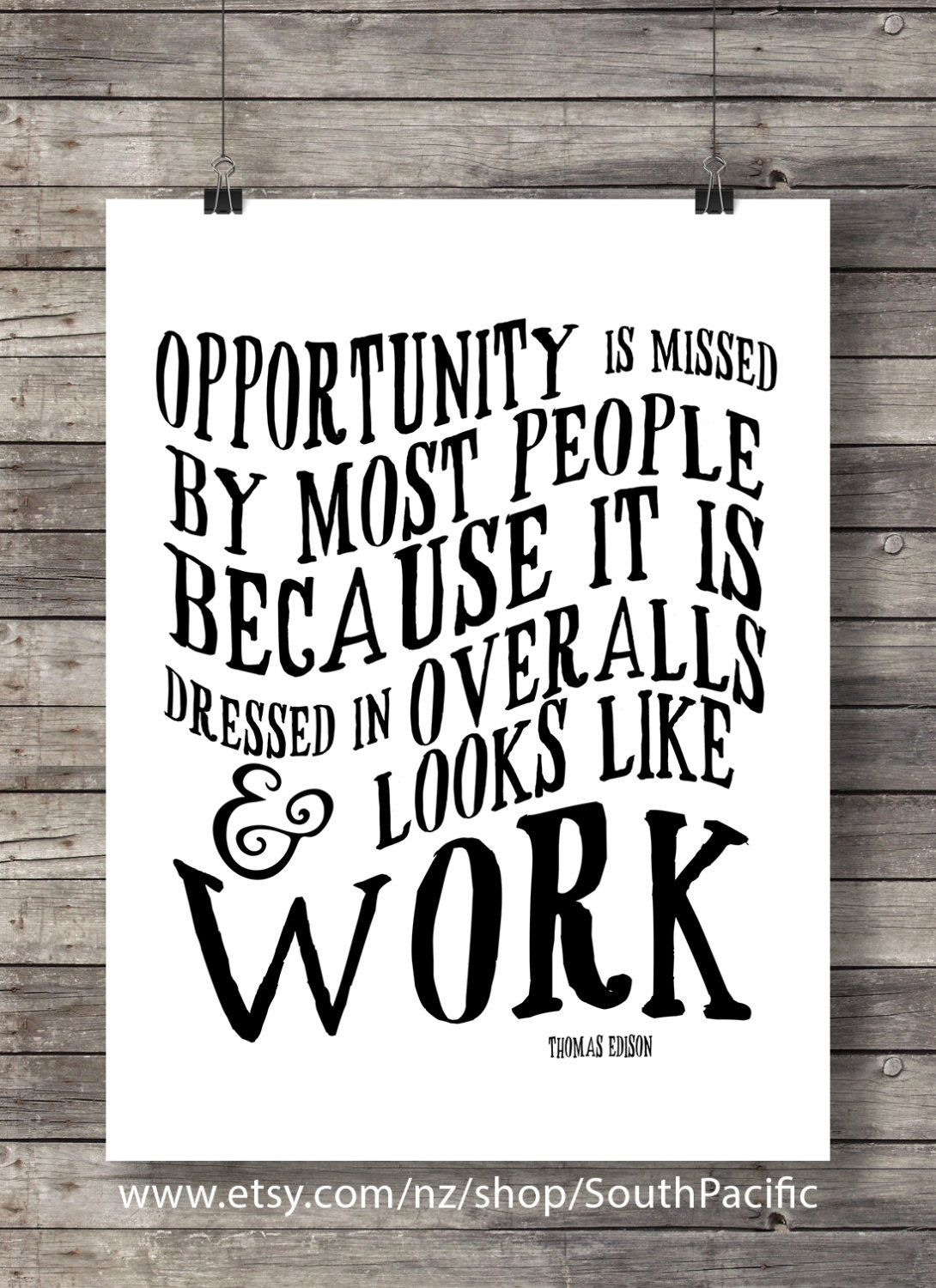 Thomas Edison Opportunity Quote Typography Quote Modern