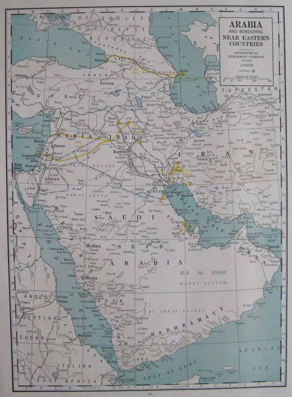 1944 Antique Saudi Arabia Map Large Vintage Iraq Map Iran Map Etsy World Map Decor Flower Aesthetic Art Gallery Wall