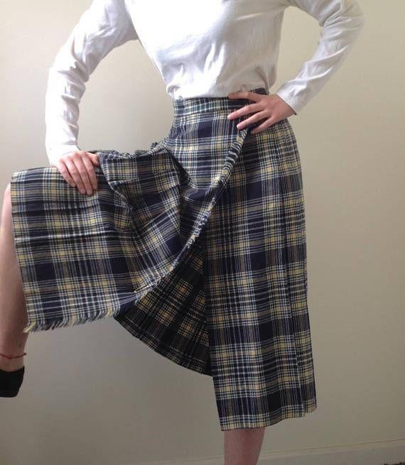 2f714d62cc Plaid Kilt Pleated Plaid Skirt / Wrap-Around Skirt / Wool Plaid ...