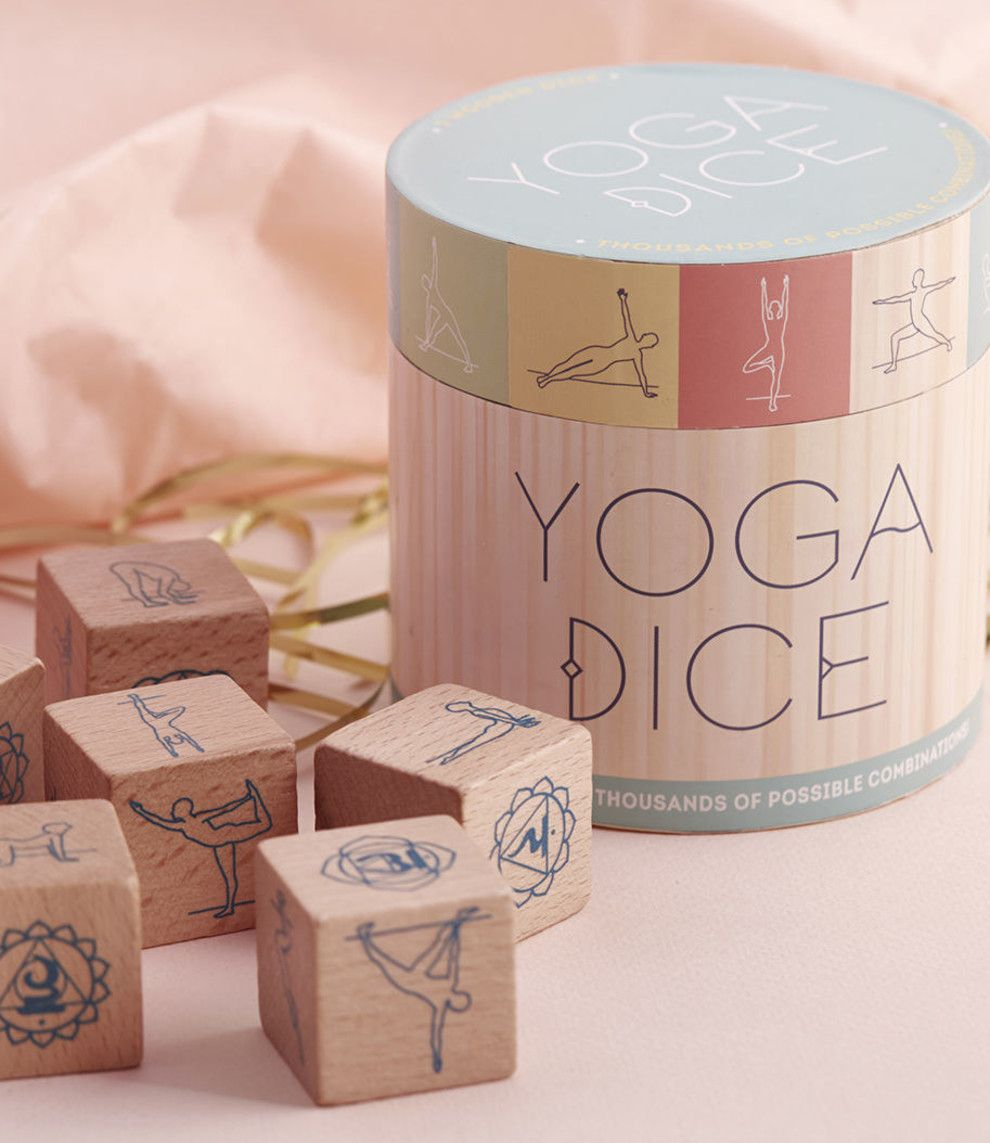 Shake up your repertoire of poses with this wooden dice set - literally! A fun way to challenge your yoga prowess, this cannister from Chronicle Books.