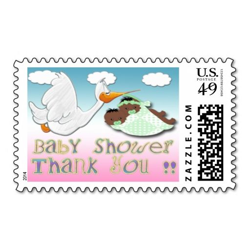 Black Boy and Girl Twins Baby Shower Thank You Posta Stamp Malachi - baby shower nia