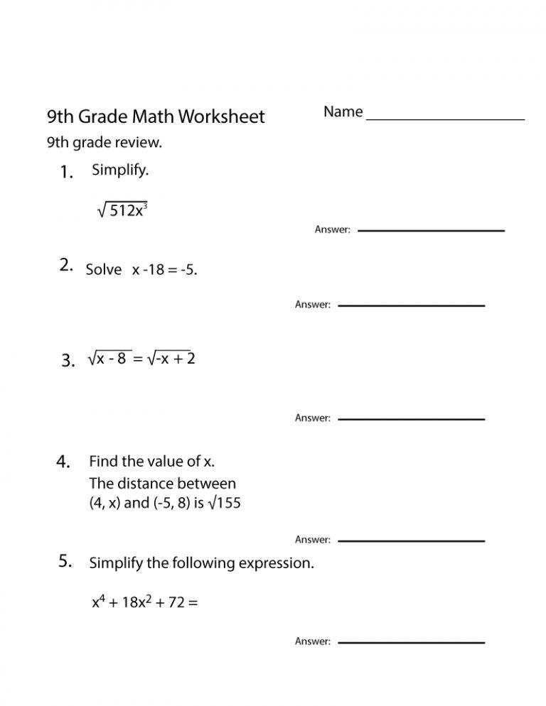 Grade 9 Math Worksheets Printable Free Mental 9th Grade Math Math Worksheets Math Worksheet