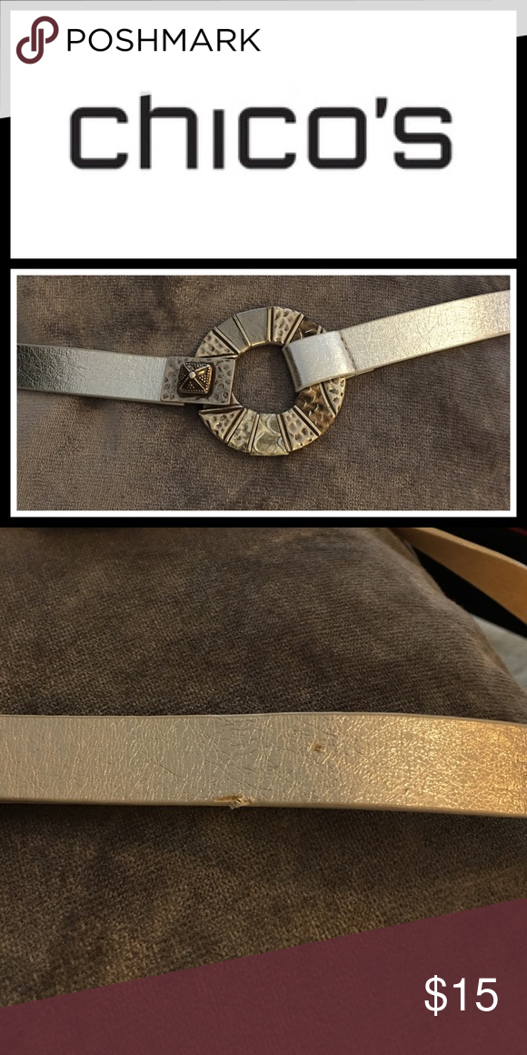 """Holiday Sale 🎁 Chicos silver Belt!! Excellent condition - one very small scratch on the back where you adjust it - see pic - can't see when wearing - measures up to 42"""" Accessories Belts"""