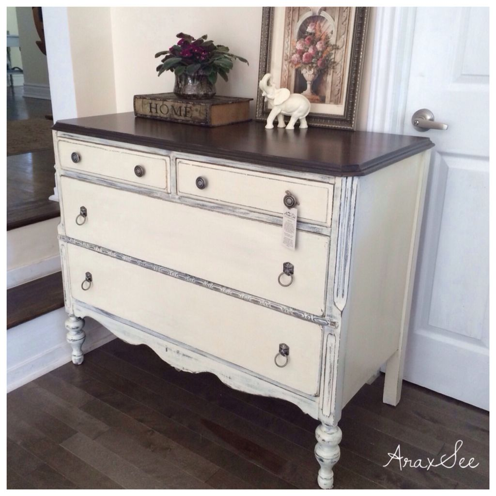 Vintage Dresser Chalk Painted Cottage White Distressed With Walnut Stained Top Painting Antique Furniture Furniture Artistic Furniture