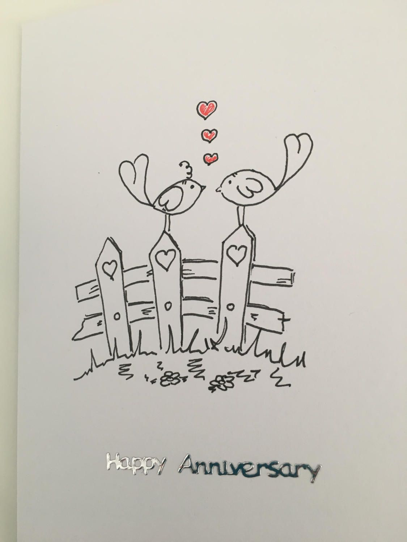 Happy Anniversary Card Hand Drawn By Lilyinnovationdesign On Etsy Anniversary Cards Handmade Anniversary Cards Happy Anniversary Cards