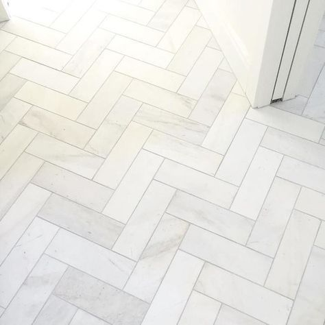 Satin White Bathroom Floor Tile In A Herringbone Design Royal Marble Subway 4 X 12