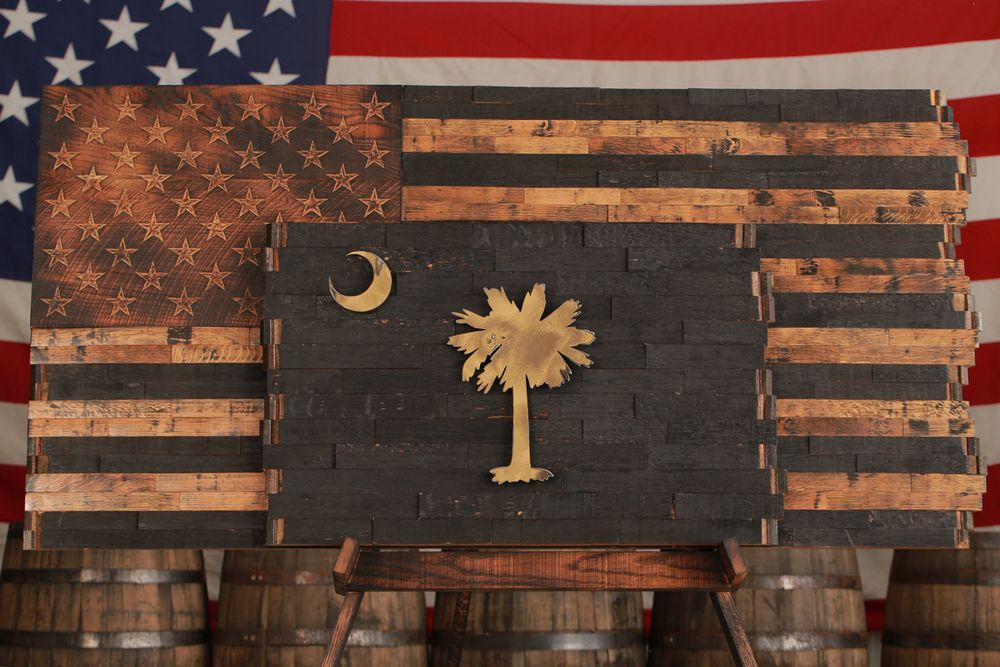 Barrel Wood American Flags