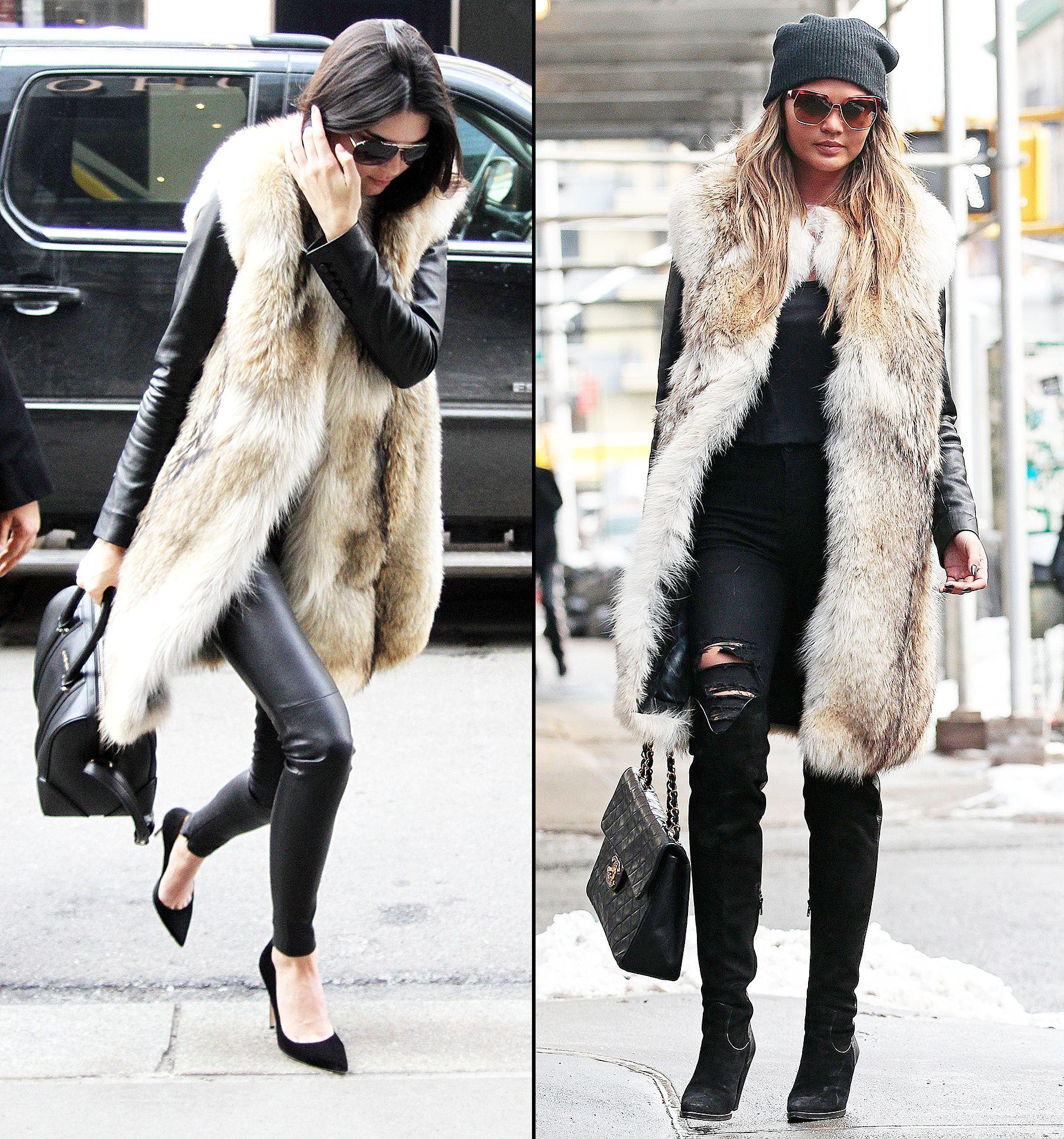 Kendall Jenner, Chrissy Teigen Wear Same Fur Coat: Photos | Retail ...