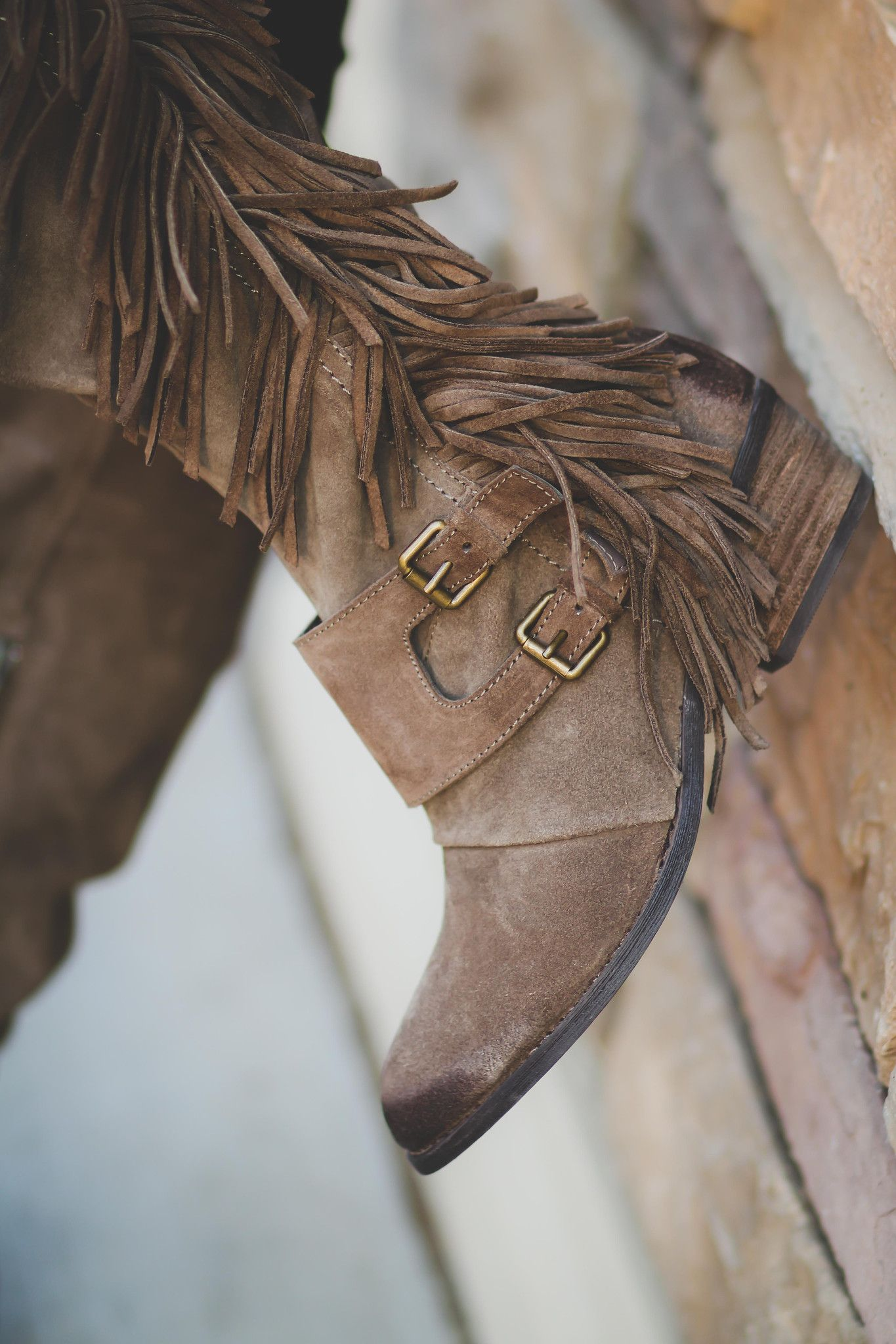 Fearlessly Free Knee High Suede Fringe Boots-Taupe ...