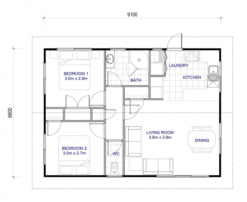 Granny Flat House Plan 60m2 In 2020 Granny Flat Bedroom Addition Plans House With Granny Flat