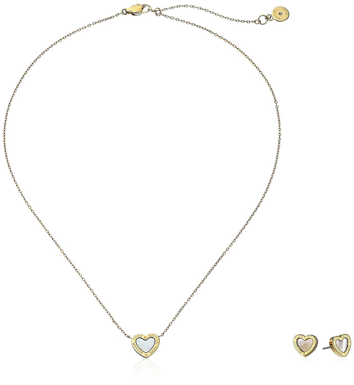 Michael kors ugiftingu goldtone stud earrings and pendant necklace