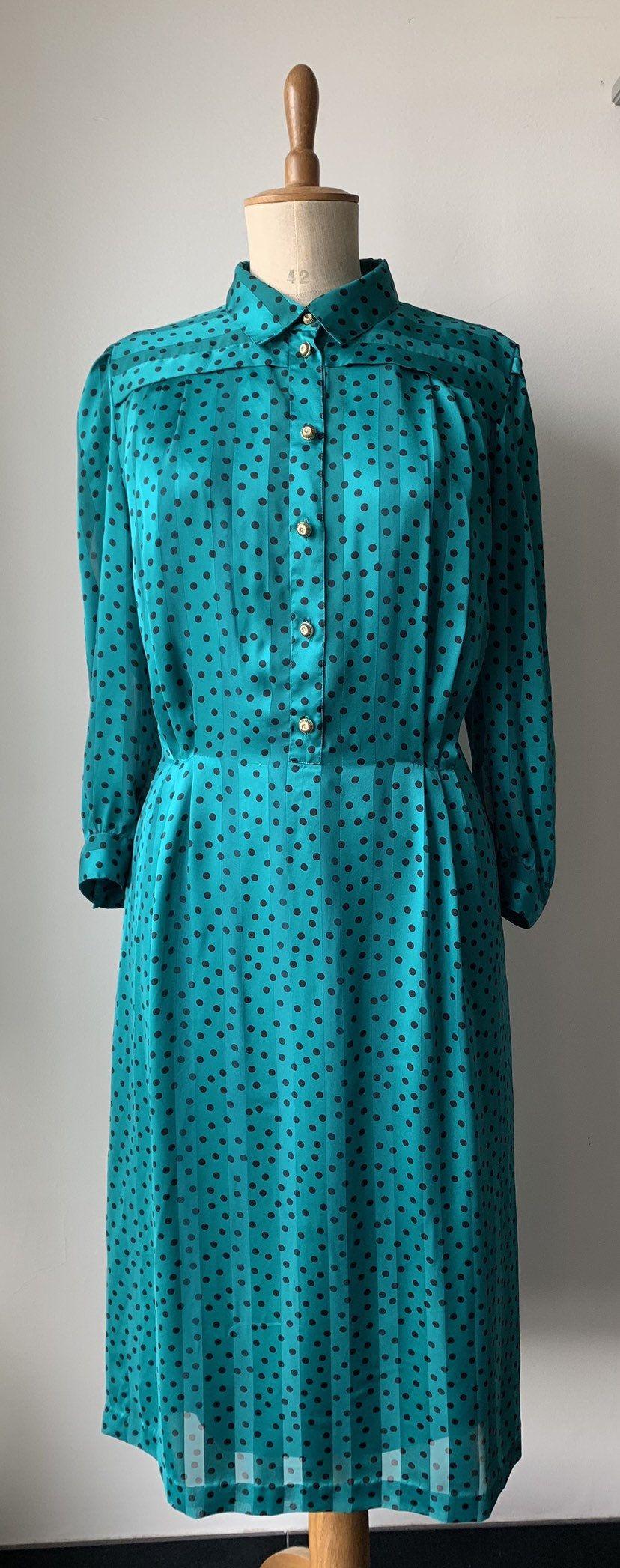Just love the color Teal chiffon dress, Chiffon dress vintage, black polka dot teal…