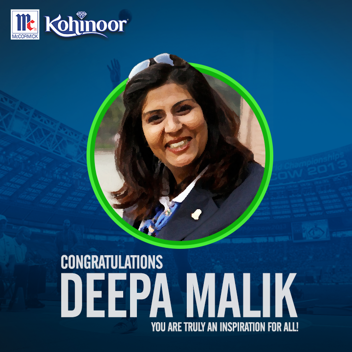 Kohinoor congratulates #DeepaMalik on making history by becoming the first Indian woman athlete to win a medal at Paralympics. India is proud of you! #KohinoorWomenAchievers.