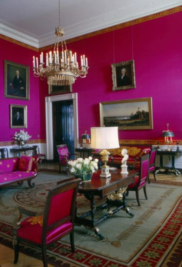 White House Interior The Red Room Contains A Sofa Which