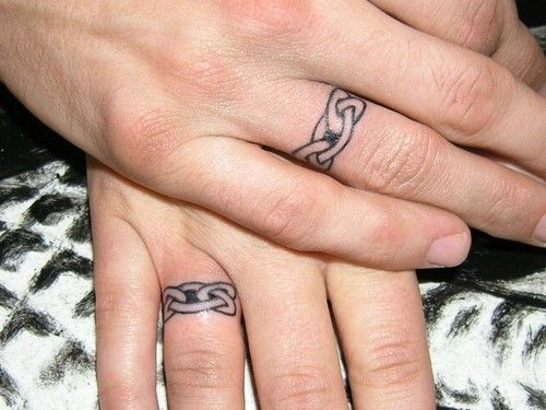 We Want To Get Wedding Bands Tattooed On Because Dev Can T Wear A Ring At Work And I Am Awful At R Tattoo Wedding Rings Ring Tattoo Designs Wedding Band Tattoo