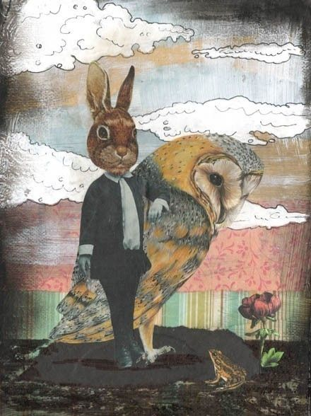 Rabbit Animal Art Print Collage Art Reproduction от sarahogren