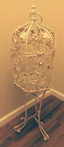 Vtg Paris Apartment Painted Metal Standing Bird Plant Cage Italian Tole