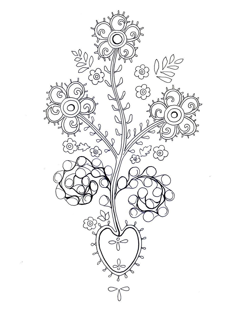 Wzory Ludowe Kolorowanki Szukaj W Google Flower Tattoo Lotus Flower Tattoo Embroidery