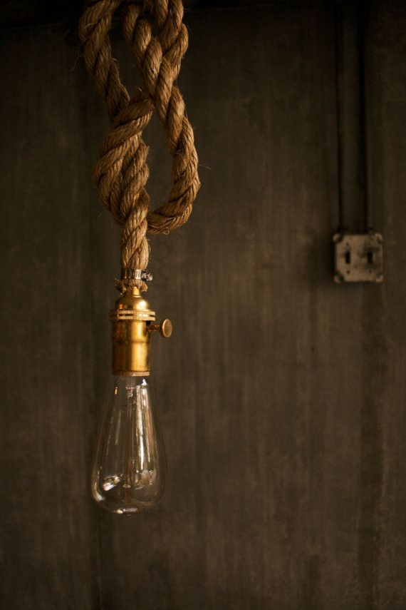 Manila Rope Pendant With Edison Bulb From Sonder Mill