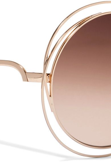 c2a9ce8aa2149 Chloé - Carlina Round-frame Rose Gold-tone Sunglasses - Brown