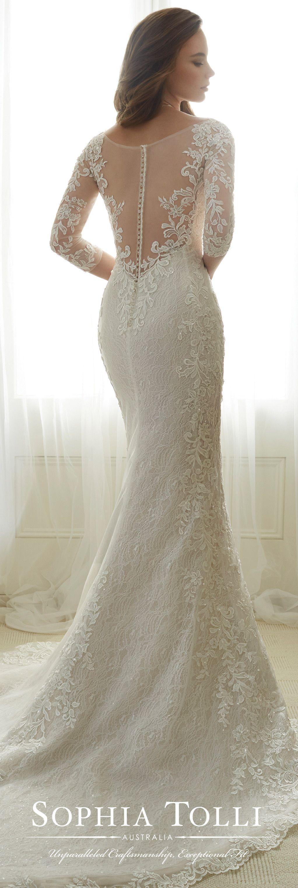 3/4 length lace wedding dress  Tulle Soft Trumpet Wedding Gown  Sophia Tolli Y  Wedding