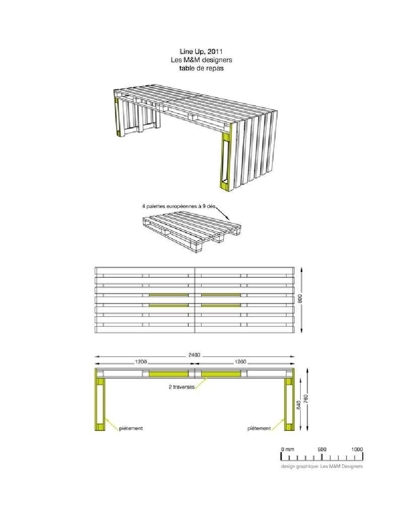 Construire une grande table en utilisant seulement 4 palettes ...