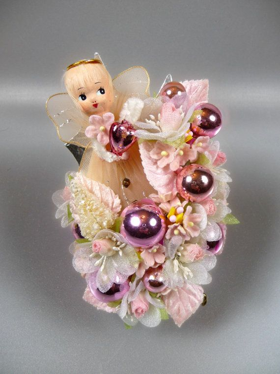 Vintage Pink Christmas Angel Corsage Decoration Retro by meaicp