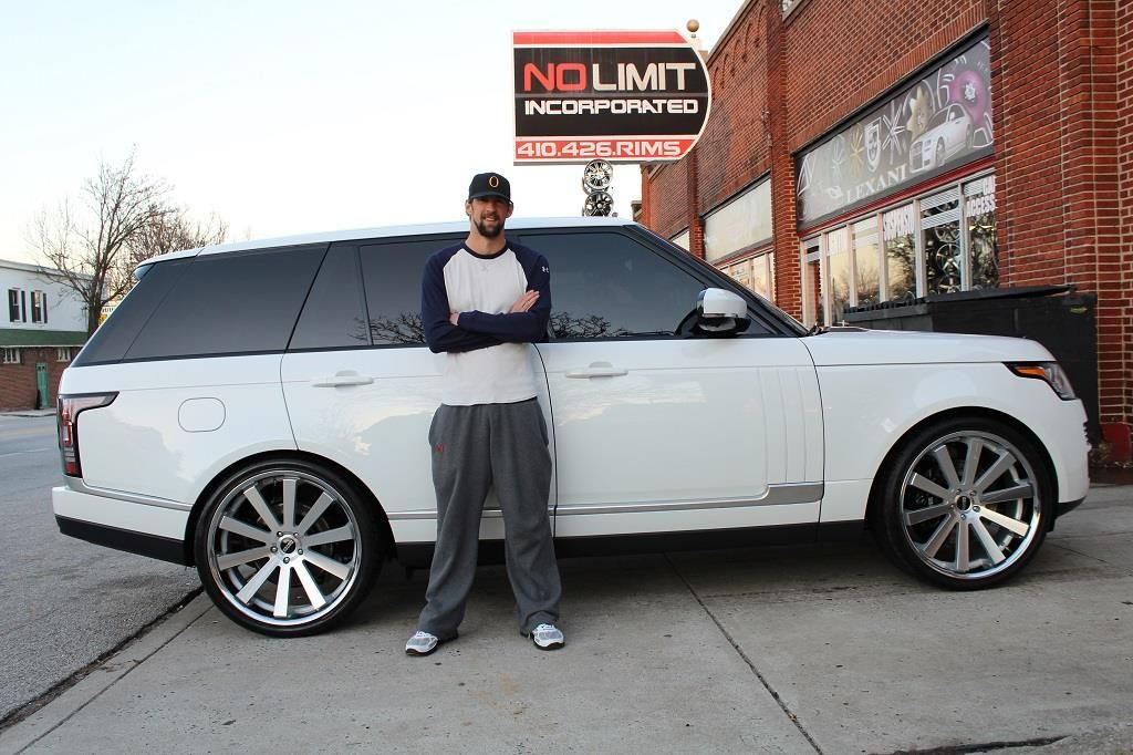 Michael Phelps With His Land Rover Range Rover Car Wheels Range
