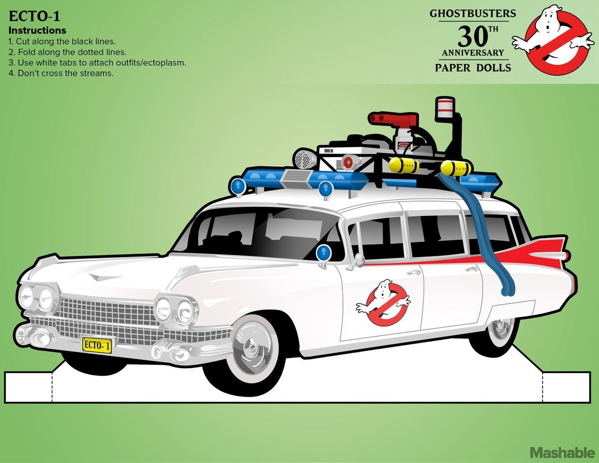 Printable Pop Up Ecto 1 Ghostbusters Party Ghostbusters Birthday Party Paper Dolls
