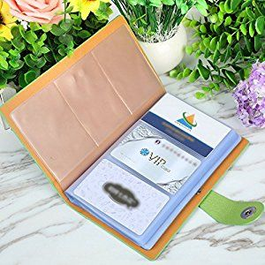 This Book Style Business Card Holder Is Made Of Faux Leather Mine Is Lime Green In Color But There A Business Card Holders Business Card Case Name Card Holder